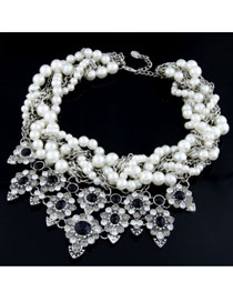 Fashion Gold Color Pearl Decorated Multilayer Weave Design Alloy Bib Necklaces