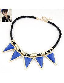 Western Blue Triangle Shape Pendant Design Alloy Bib Necklaces