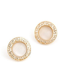 Limited Gold Color Round Shape Simple Design Alloy Stud Earrings