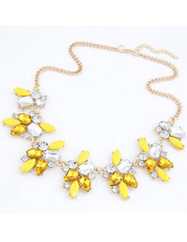 Boxed Yellow Geometric Shape Gemstone Decorated Alloy Bib Necklaces