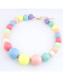 Engagement Multicolor Candy Color Beads Weave Design Rosin Beaded Necklaces