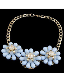 Girls Sky Blue Three Big Flowers Decorated Alloy Fashion Necklaces