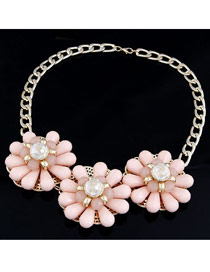 Scottish Pink Three Big Flowers Decorated Alloy Fashion Necklaces