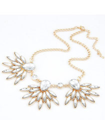 Automatic White Gemstone Decorated Design Alloy Korean Necklaces
