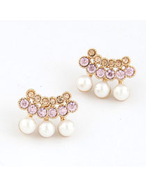 American Pink Sparkly Diamond Pearl Design Alloy Stud Earrings