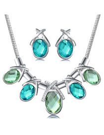 Retro Multi-color Waterdrop Shape Diamond Pendant Decorated Hollow Out Jewelry Sets