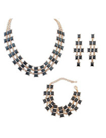 Fashion Silver Color+blue Square Shape Diamond Decorated Color Matching Jewelry Sets
