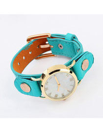 Peridot Light Blue Round Shape Simple Design Alloy Ladies Watches