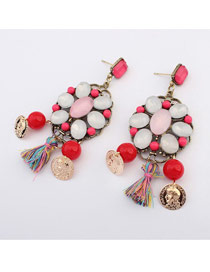 Madewell Multicolor Hollow Out Gemstone Decorated Design Alloy Korean Earrings