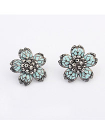 Musical Blue Five Petal Flower Design Alloy Stud Earrings