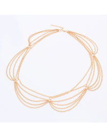 Dash Gold Color Multilayer Chain Simple Design