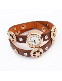 Players Dark Coffee Star&Diamond Decorated Design Alloy Fashion Watches