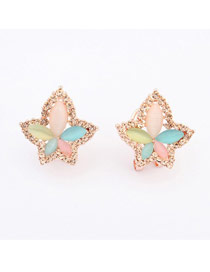 Fit Multicolor Maple Leaf Shape Simple Design Alloy Stud Earrings