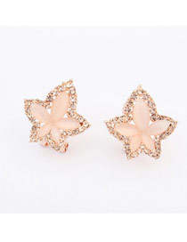 Hiking Pale Peach Maple Leaf Shape Simple Design Alloy Stud Earrings