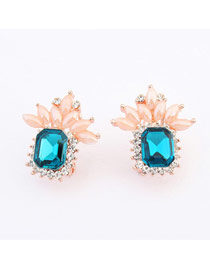 Hip Hop navy  blue Gemstone Decorated Geometric Shape Design Alloy Stud Earrings