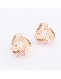 Nautical Pink Pearls Decorated Triangle Shape Design Alloy Stud Earrings
