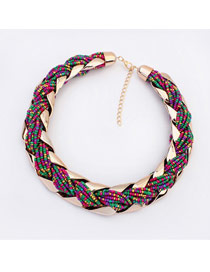 Bohemia Multi-color Pure Color Decorated Simple Hand-woven Design Necklace