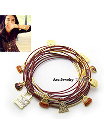 Monogramme Claret-Red Multilayer Alloy Fashion Bangles