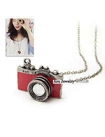 Promotiona Red Camera Shape Pendant Alloy Korean Necklaces