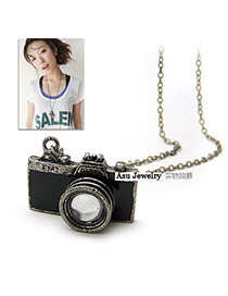 Wool Black Camera Shape Pendant Alloy Korean Necklaces
