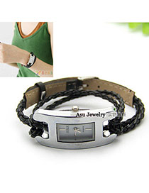 Exquisite Black Letter Pattern Decorated Pure Color Design  Pu Ladies Watches