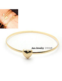 Elegant Gold Color Letter Pattern Decorated Pure Color Simple Bracelet
