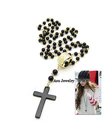 Disposable Black Cross Pendant Alloy Korean Necklaces