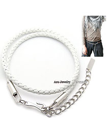 Fashion White Beads Decorated Chains Weave Design Alloy Thin belts