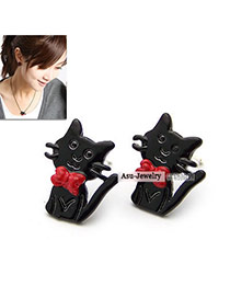 Infant Black cute cat alloy Stud Earrings