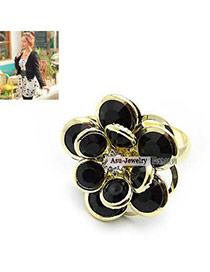 Wishbone Black Small Rose Petals Ring Alloy Korean Rings