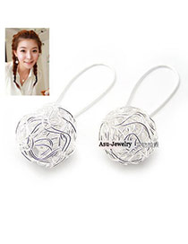 Fashion Black Beads Decorated Round Shape Design Alloy Korean Earrings