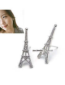 Fashion Silver Color Diamond Decorated Irregualr Shape Simple Earrings