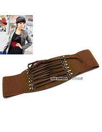 Fashion Black Weave Tape Decorated Pure Color Design  Leather Wide belts