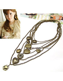 Vintage Black Beads&leaf Pendant Decorated Long Necklace