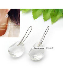 Vibrating White Simple Design Alloy Korean Earrings
