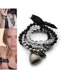 Trendy Black Gemstone&flower&pearl Decorated Multi-layer Simple Bracelet