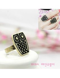 Personality Blue Heart Shape Stone Decorated Simple Design Alloy Fashion Rings