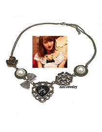 Easter Antique Silver Flower Alloy Bib Necklaces