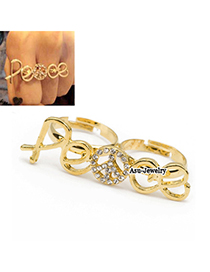 Colorful Gold Color Peace Symbol Alloy Korean Rings