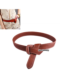 2013 Brown Fashion tie clasp Leather Korean belts