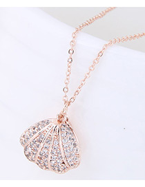 Fashion Gold Color Diamond Decorated Shell Shape Pure Color Necklace