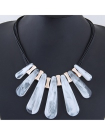 Exaggerate White Strip Shape Decorated Multilayer Necklace