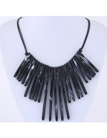 Exaggerate Black Strip Shape Decorated Double Layer Necklace