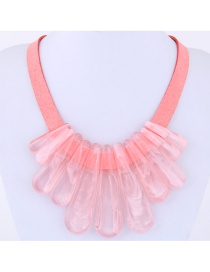 Exaggerate Pink Pure Color Decorated Necklace