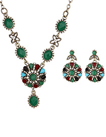 Vintage Green Round Shape Decorated Tassel Jewelry Sets