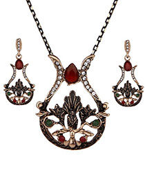 Vintage Red Hollow Out Decorated Jewelry Sets