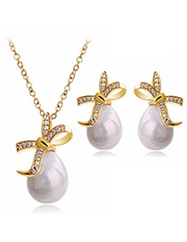 Fashion Gold Color Bowknot&pearls Decorated Jewelry Sets