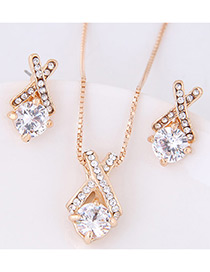 Elegant Champagne Diamond Decorated Cross Design Jewelry Sets