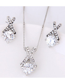Elegant Silver Color Diamond Decorated Cross Design Jewelry Sets