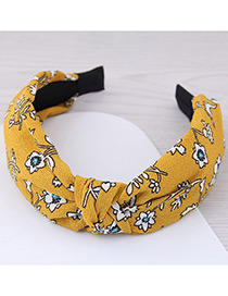 Lovely Yellow Flower Pattern Decorated Cross Design Hair Hoop